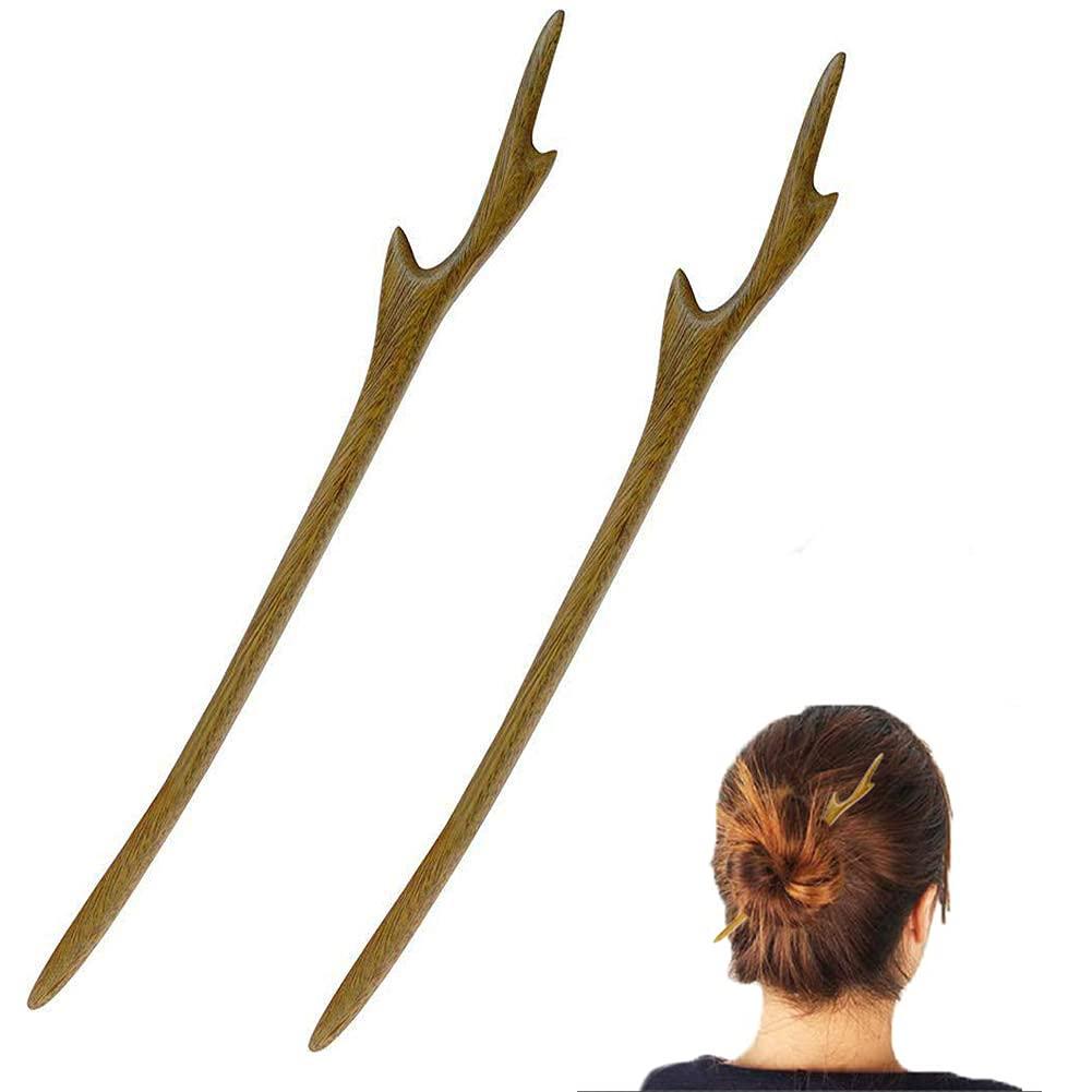 YILE Set of 2 Hair Sticks Natural Wooden Hairpins Retro Handmade