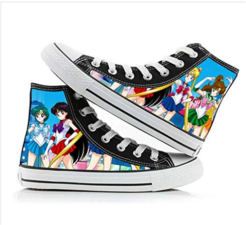 JPTYJ Sailor Moon Alpargatas para Hombre Anime High Top Canvas Shoes Sneakers Trainers Cosplay Botines para Hombres Mujeres A-39