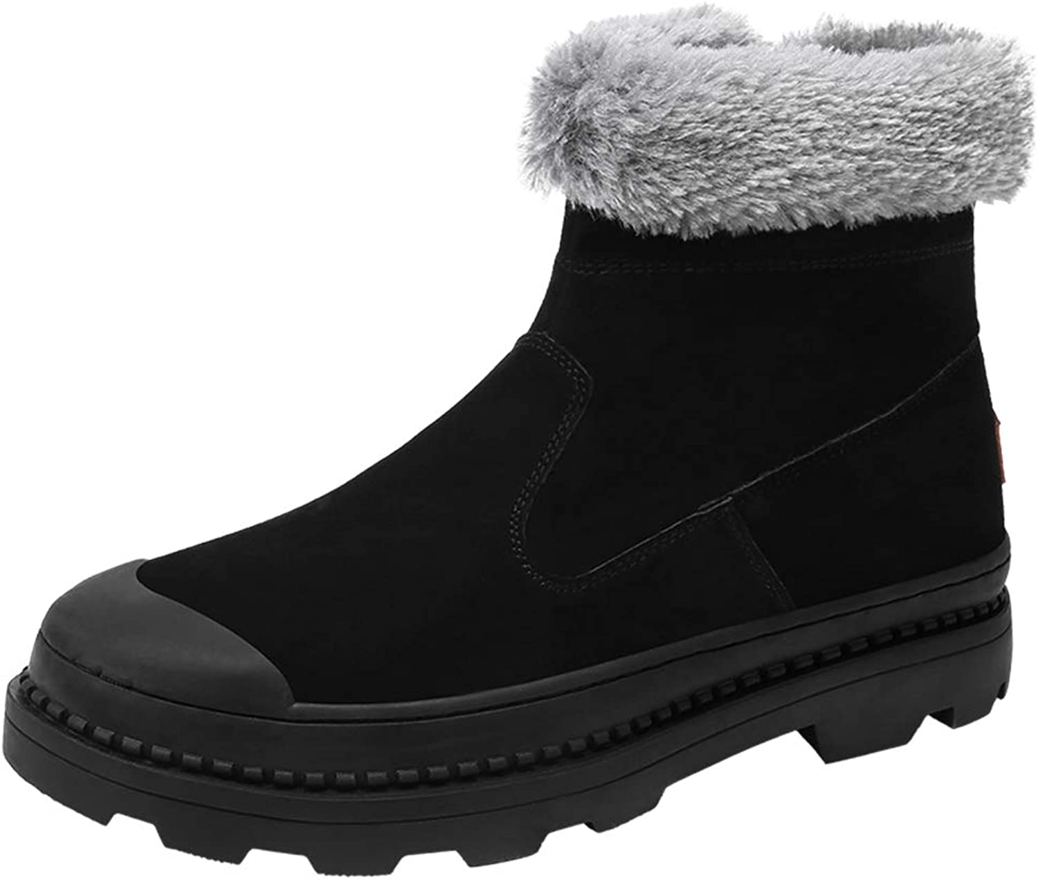 2018 New Mens boots, Men's Fashionable Casual Snow Boots Character Zipper Outsole Winter Faux Fleece Inside Home shoes (color   Black, Size   8.5 UK)