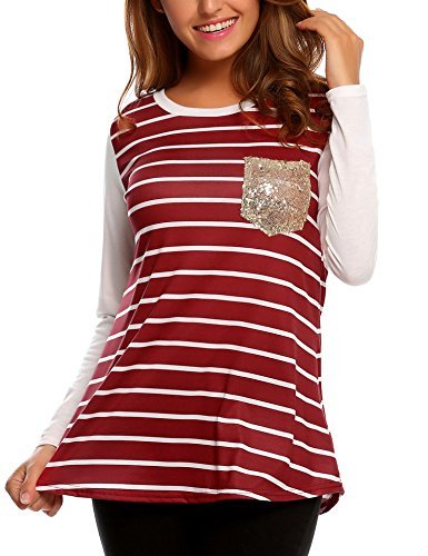 Easther Women Casual Striped Long Sleeve Crew Neck Shirts Blouse Tops For Juniors Medium