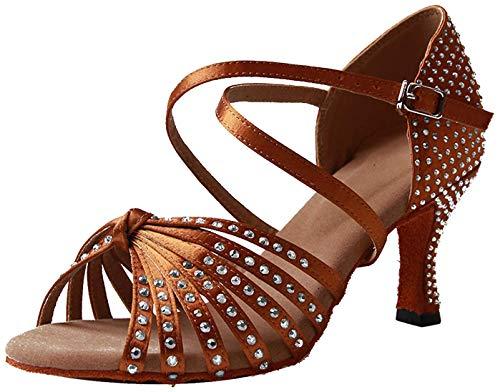 Naudamp Zapatos Baile Latinos Mujer Diamante de Imitación M