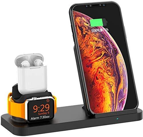 Stazione di Ricarica Caricabatterie Wireless Qi 10W Compatibile per iPhone XS Max XR X 8 Plus Pad Dock di Ricarica Rapida per Apple Watch Iwatch 4 3 2