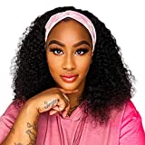 14inch Curly Headband Wig Human Hair Wigs for Black Women Glueless None Lace Front Wig Brazilian Virgin Human Hair Kinky Curly Half Wigs 150% Density