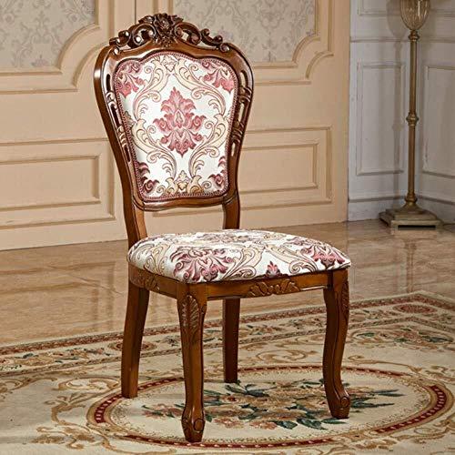 HYY-YY Esszimmerstühle Küchentheke Massivholz-Dining Chair Tuch Stuhl Retro amerikanische Stuhl Geschnitzte Hocker Hotel-Stuhl Einfache Montage 2 Stück (Farbe: Braun, Größe: 52x50x106cm)