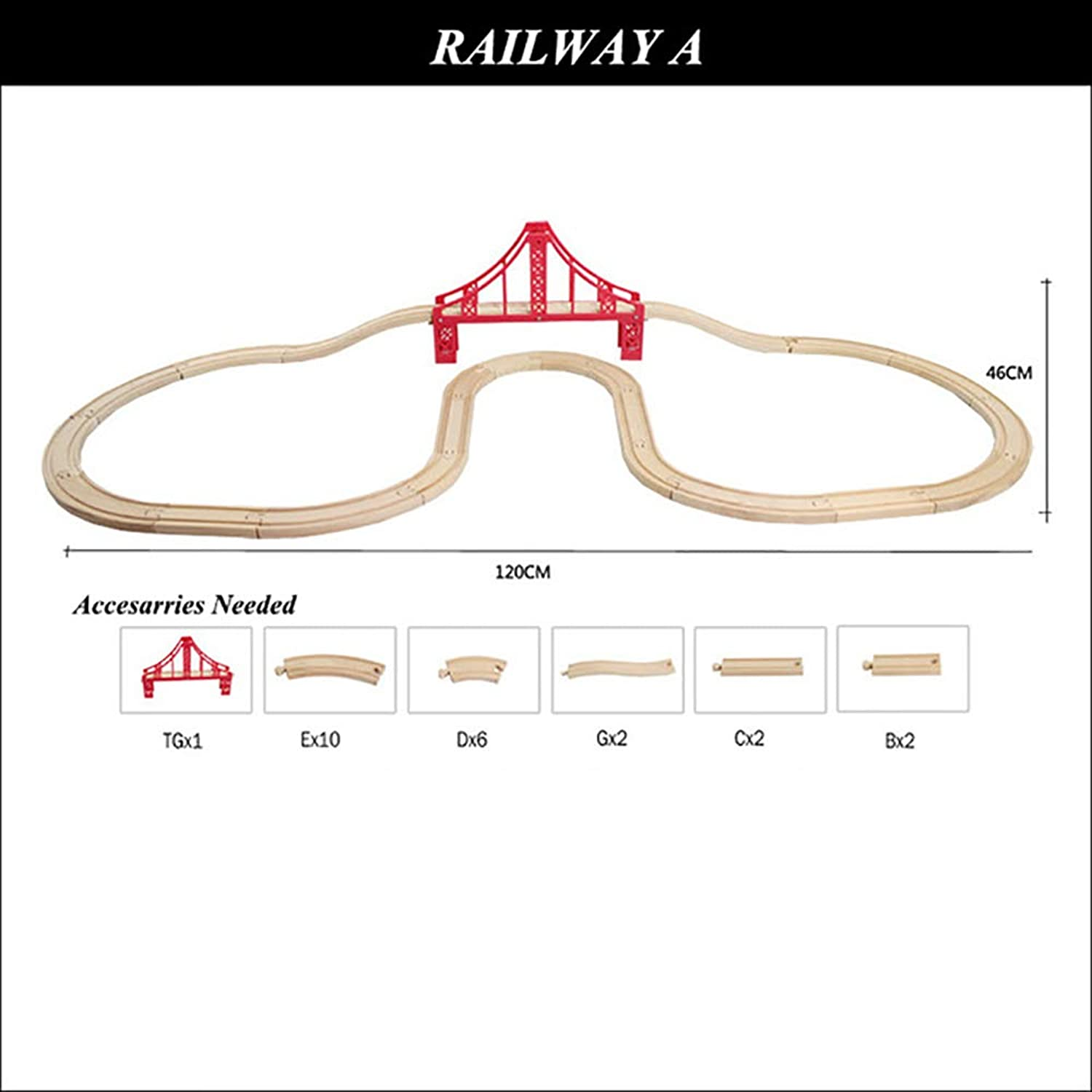 Wooden Railway Straight and Curved Expansion Track for Train Take-n-Play Motorized Electric Train Track Master Toys Accessories ( 6)