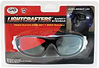 SAS Safety 5420-15 LIGHTCRAFTERS READERS SAFETY GLASSES W/LED LIGHTS BLACK FRAME W/ 1.5X READERS LENS - CLAMSHELL
