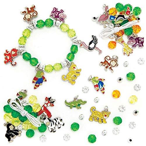 Baker Ross FE217 Kits de Brazalete con Dije de Animales de la Jungla - Paquete de 3, perfecto para actividades de fabricación de joyas para niños