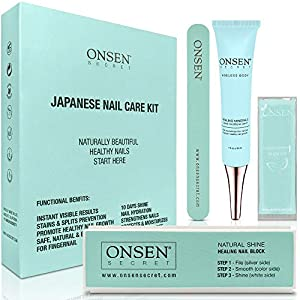 Beauty Shopping Onsen Japanese Nail Buffer and Shine Kit – Professional Nail File, 3-Way Nail Buffer Block with Free Replacement Pads…