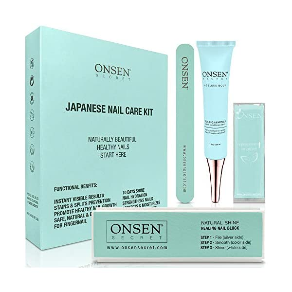 Beauty Shopping Onsen Japanese Nail Buffer and Shine Kit – Professional Nail File, 3-Way Nail