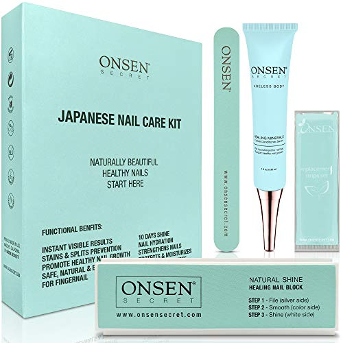 Healing Mineral Nail Restoration Kit – Professional Nail File, 3-Way Nail Buffer Block, Cuticle Cream with Aloe and Sacred Water – Mini Nail and Cuticle Care Kit Travel Size Products by Onsen Secret