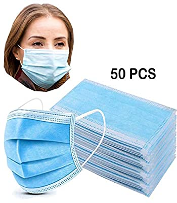 Face Mask Pack of 50, 3 Ply Mask, 3 Layer Disposable Mask, Blue Color, Non-Woven Polypropylene Fabric, Earloop Face Mask (50 Pack)