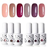 Vernis Gel Semi Permanent - Y&S UV LED Vernis à Ongles Soak Off Manucure Nail Art Cadeau Lot 6 Couleurs X 8ml Kit 24