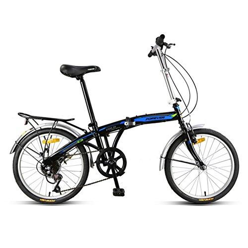 YEARLY Erwachsene klappräder, Faltrad Lightweight Portable Männer und Frauen Geschwindigkeit Stadt Fahren Kann Personen befördern Klappräder-Schwarz A 20inch