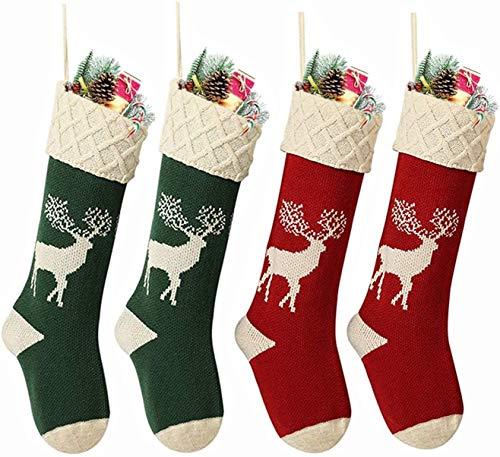 Charlemain Nikolausstrumpf 4er Set, große Nikolausstiefel zum Befüllen, Weihnachsstrumpf als Weihnachtsgeschenktasche, Hängende Rentier Strümpfe für Kamin, Weihnachtsdeko
