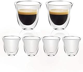 [6-Pack, 60ml/2oz] DESIGN•MASTER - Tasses à espresso de première qualité, en verre isolant à double paroi avec poignée, en...