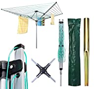 4 Arm Outdoor Dryer Can Be Easily Adjusted To Suit Your Height The Dryer Comes Complete With Metal Ground Spike And Waterproof Cover Umbrella System Makes the Rotary Dryer Easy To Open And Close With Secure Locking System Material: Powder Coated Stee...
