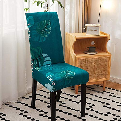 AHKGGM Fundas Sillas Comedor Pack De 6 Verde Oscuro Fundas Sillas Comedor Hoja De Tortuga Fundas Elásticas Chair Covers...