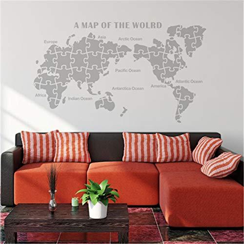 FDCVF Muursticker, hal, muursticker, wereldkaart, plakfolie, PVC, materiaal doe-het-zelf, muurschildering verwijderbaar, sofa-achtergrond voor huis, woonkamer, decoratie, lichtgrijs, M