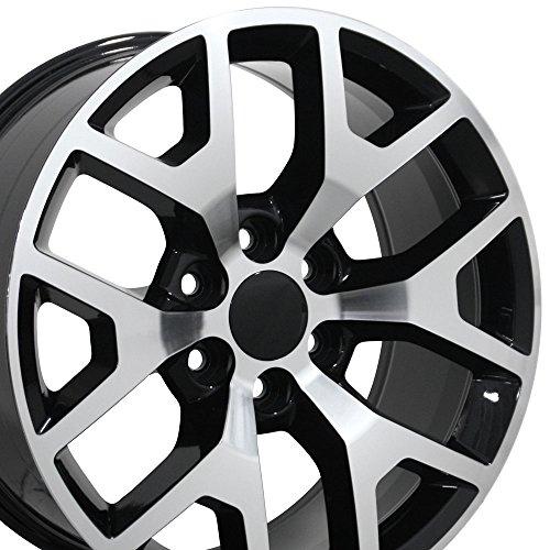 OE Wheels 22 Inch Fits Chevy Silverado Tahoe GMC Sierra Yukon Cadillac Escalade CV92 Black Mach'd 22x9 Rim Hollander 5656