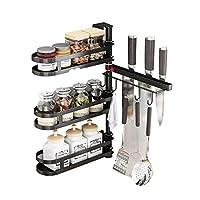 3層キッチン回転コーナースパイスラック調味料収納ラック、ナイフラック付き多機能キッチンステンレススチールルーム排水棚 (Color : A)