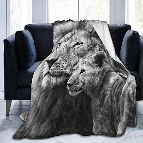 COMRTL Flannel Fleece Throw Blanket Bed Blanket lion with cub Micro Fleece Blanket Warm Soft Lightweight Cozy Microfiber Blanket Throw for Bed Couch Sofa All Seasons