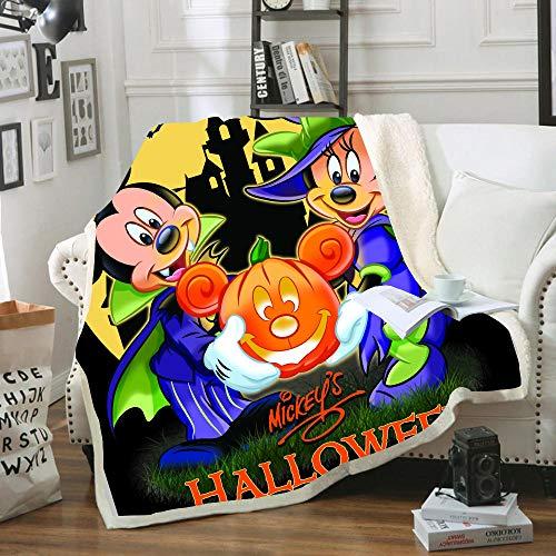 SSLLC Weiche warme Fleece-Überwurfdecke für Kinder und Erwachsene, Halloween, Disney Mickey & Minnie Maus, Überwurf, Decke, Grab und Kürbis-Bettwäsche für Bett Couch (A19, 150 x 200 cm)