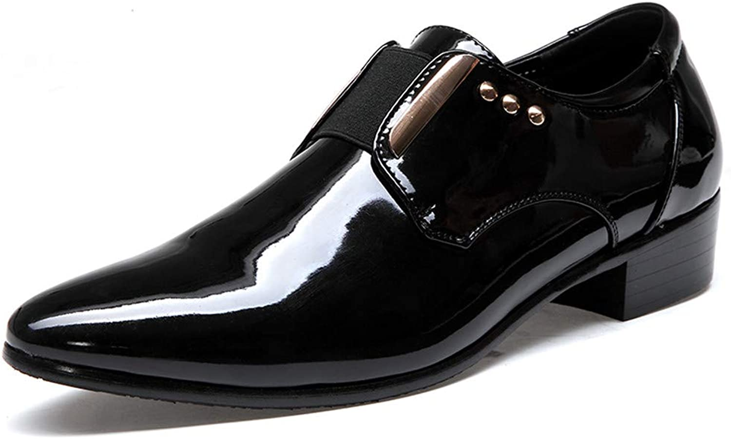 Patent leather Men's Oxford shoes pointed PU leather patent leather metal decorative shoes fashion casual low heel shoes Formal wear Dress shoes (color   Black, Size   9.5 UK)