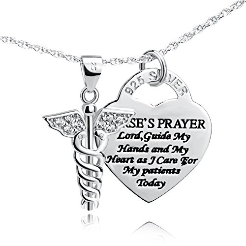 YFN Sterling Silver Caduceus Angel Nursing Themed Pendant Necklace 18' (Caduceus Necklace)
