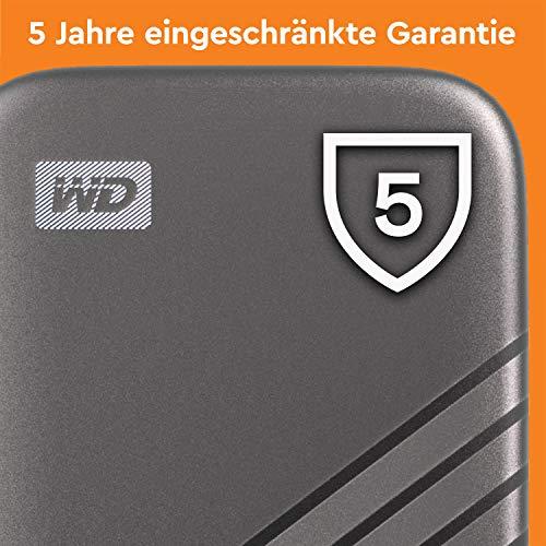WD My Passport SSD 2 TB externe SSD (externe Festplatte mit SSD Technologie, NVMe-Technologie, USB-C und USB 3.2 Gen-2 kompatibel, Lesen 1050 MB/s, Schreiben 1000 MB/s) dunkelgrau - 9