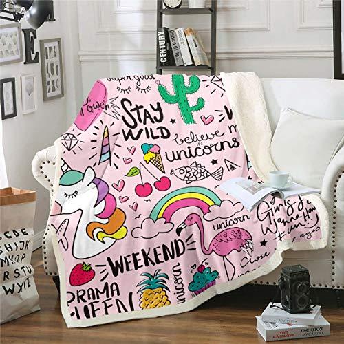 Loussiesd Manta de forro polar con estampado de unicornio, flamencos, para niñas y niñas, diseño de animales mágicos, de fantasía, manta de felpa, para sofá cama, cama individual de 132 x 152 cm
