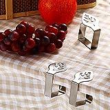 Atuful 8 Stück tischtuchklammern,Tischdeckenklammer aus Edelstahl,Tischdeckenhalter für Familie Party (Blätter Schmetterling) - 6