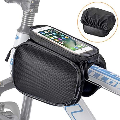WOTOW Fahrradrahmen Gepäckträgertasche, Handytasche, Fahrrad, Vorderrohr mit Touchscreen-Sattelträger, Mountainbike-Halterung, Handytaschen für Smartphone, 7.2 inches Phone Bag