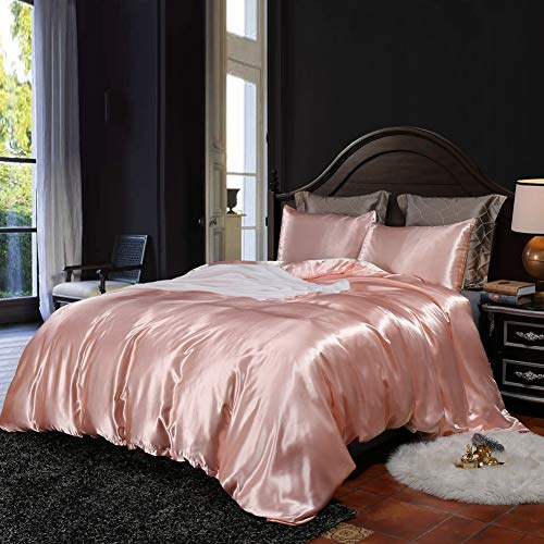 Pink Bedding Silk Like Satin Girls Duvet Cover Set Solid Color Quilt Cover Light Pink Bedding Sets...