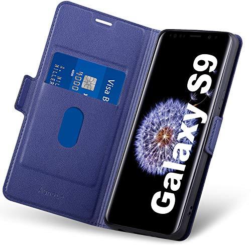 Aunote Hülle Samsung S9, Handyhülle Samsung S9 Klapphülle, Samsung Galaxy S9 Hülle, Schutzhülle S9, Tasche S9, Leder Etui Folio Phone Cover, Samsung Galaxy S9 Flip Hülle, S9 Hülle klappbar. Blau
