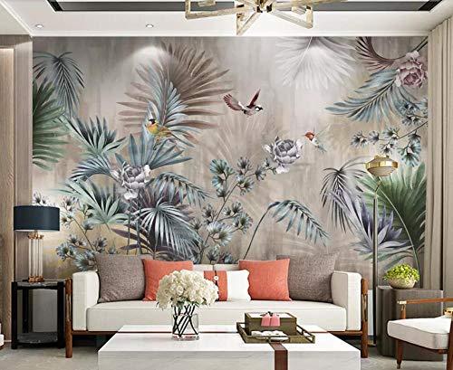 Fototapete 3D Effekt Tapete Pflanze Blatt Vintage Vliestapete 3D Tapeten Wanddeko Wandbilder Wohnzimmer,250cmX175cm