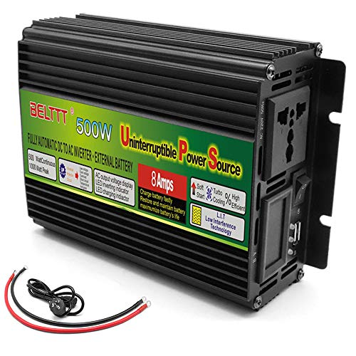 Inversor 500W/1000W/1500W/2000W/3000W/5000W Convertidor de voltaje de onda sinusoidal pura Convertidor DC 12V/24V a AC 230V - convertidor inversor de corriente con enchufe y conexión USB,500W-