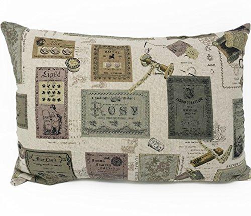 Lancashire Textiles Style Vintage Label Boudoir Housse de Coussin Uniquement