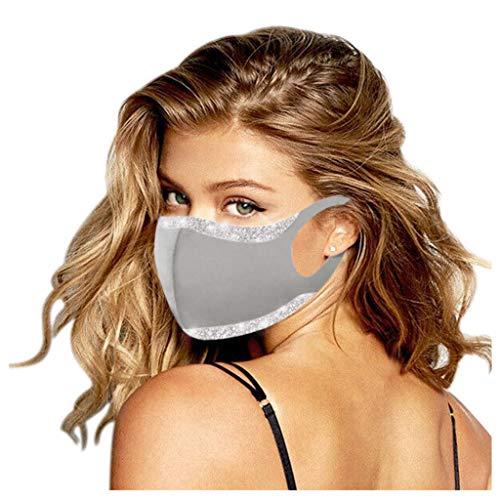 YpingLonk 1 Pc Unisex Lentejuelas Adultas Bufanda Ajustable Universal 3ply Suave elástico Earloop Bufanda de Moda para Mujeres Hombres- 10227-14