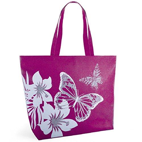 Luna Cove Strandtasche mit Glitzer-Schmetterlingsmotiv, rose (Pink) - BB1029