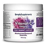 Vitamina C 1000mg en polvo - Bebida Sabor Grosella Â¡Bote para 4 meses! Apto para veganos - SimplySupplements