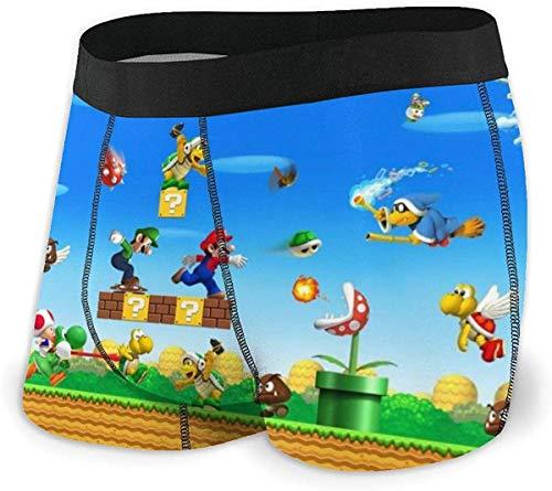 SBLB Game Super Mario Herren Unterwäsche Stretch Boxershorts für Männer Kurze Bein Unterhose Atmungsaktiv Bequeme Faser Pack Gr. XXL, einfarbig