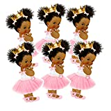 Princess Party Cut-Outs, African American Princess Decor for Royal Birthday Baby Shower, 4.5 inches