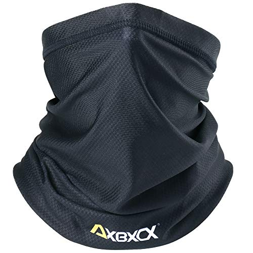 AXBXCX Neck Gaiter Elastic Seamless Moisture Wicking Fishing Face Mask Non Slip Breathable Sun Dust Wind UV Protection Headband Bandana for Men Women Black