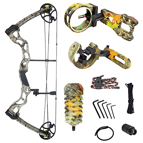 iGlow 40-70 lbs Tree Camouflage Camo Archery Hunting Compound Bow with Premium Kit 175 150 60 55 30 lb Crossbow