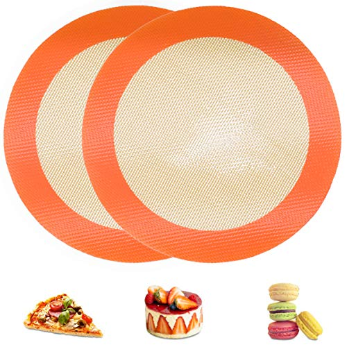Silicone Baking Mats, 2 PCS Round Silicone Mat for 8 Inch Cake Pan, Non-Stick Reusable Cookie Sheet Liners for Baking Pans for Cake/Bread/Pizza/Macaron/Pastry/Cookie/Bun/Pie