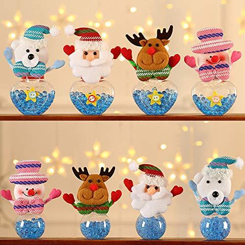 Yueser 8 Piezas Tarro de Dulces Navideños Plástico Felpa Tarro de Caramelos Papá Noel Muñeco de Nieve Oso y Ciervo Decoracion Navideña