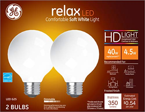 GE Lighting 31541 Finish Light Bulb Relax HD Dimmable LED G25 Decorative Globe 4.5 (40-Watt Replacement), 350-Lumen Medium Base, 2-Pack, Frosted White, 2
