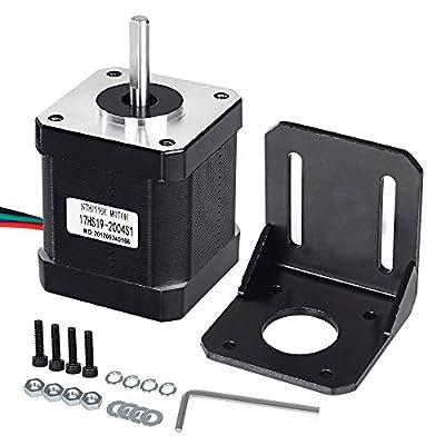 Mcwdoit Nema 17 Stepper Motor Bipolar 2.0 A 83.6oz.in(59Ncm) 47mm Body 4-lead w/ 1m 4-Pin Cable +Nema 17 Mounting Brackets for 3D Printer/CNC …