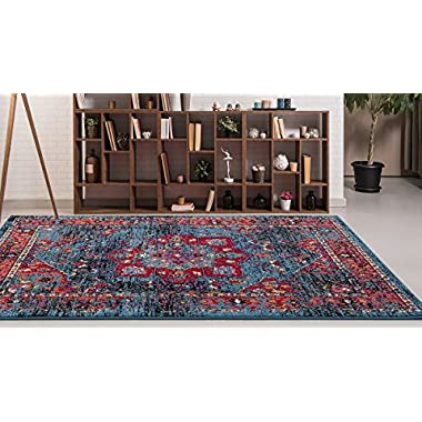 Adgo Siena Collection Modern Contemporary Live Blue and Pink Design Jute Backed Area Rugs Tall Pile Height Well Spaced Soft and Fluffy Indoor Floor Rug (4' x 6')
