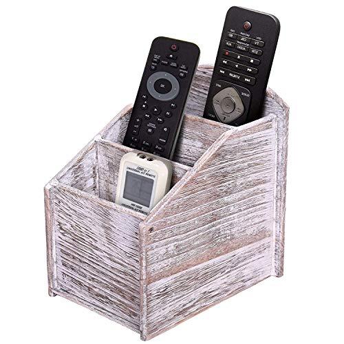 Mando a Distancia rústico de Madera de 3 Ranuras - Soporte de Caddie para Material Multimedia, de Oficina o de Escritorio - Decoración Moderna para la Sala de Estar - Apreciada, Vintage Blanco Color